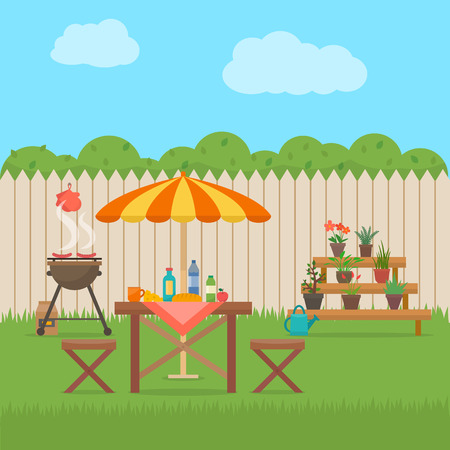 Ilustración de House backyard with grill. Outdoor picnic. Barbecue in patio. Flat style vector illustration. - Imagen libre de derechos