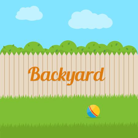 Illustration pour Backyard of house. Flat style vector illustration. - image libre de droit
