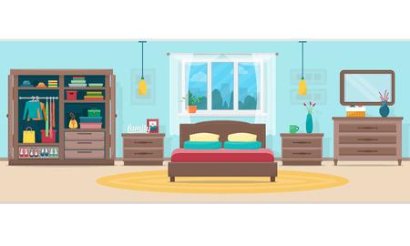Ilustración de Bedroom with furniture and window. Wardrobe with clothes and mirror. Flat style vector illustration. - Imagen libre de derechos