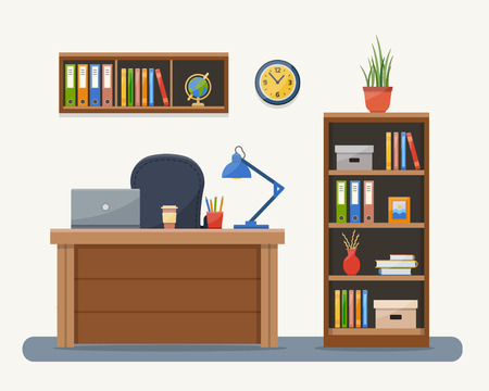 Illustration pour Workplace in office. Cabinet with workspace with table and computer. Flat style vector illustration with texture. - image libre de droit