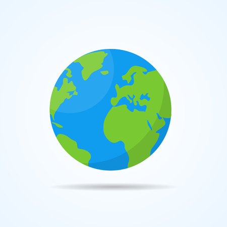 Illustration pour Earth planet with shadow. Flat style vector illustration. - image libre de droit