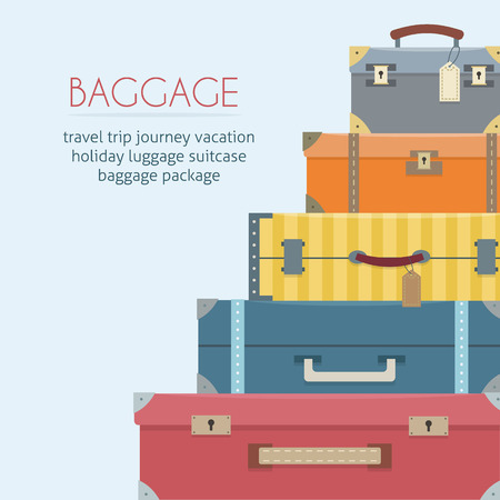 Illustration pour Baggage on background. Flat style vector illustration. - image libre de droit
