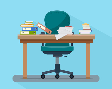 Ilustración de Busy cluttered office table. Hard work. Office interior with books, folders, papers and letters on table. Flat style vector illustration. - Imagen libre de derechos