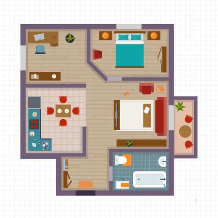 Illustration pour Detailed apartment furniture overhead top view. Apartment room plan. Flat style vector illustration. - image libre de droit