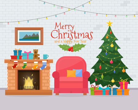 Illustration pour Christmas room interior with sofa. Christmas tree and decoration. Gifts and fireplace. Flat style illustration. - image libre de droit