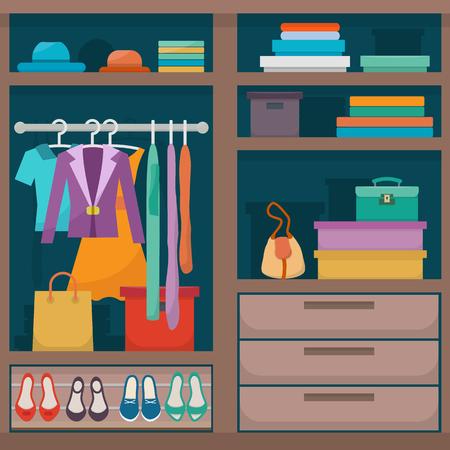 Illustration pour wardrobe with clothes - image libre de droit