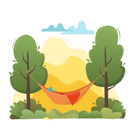 Ilustración de Summer hammock with trees in forest and garden, mountains and clouds. - Imagen libre de derechos