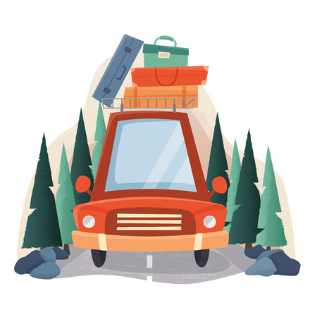 Illustration pour Summer travel car with suitcases, road and forest trees. - image libre de droit