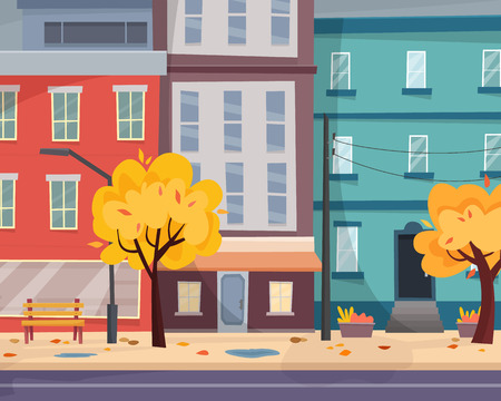 Illustration for Houses on street with road in city. Cityscape. - Royalty Free Image