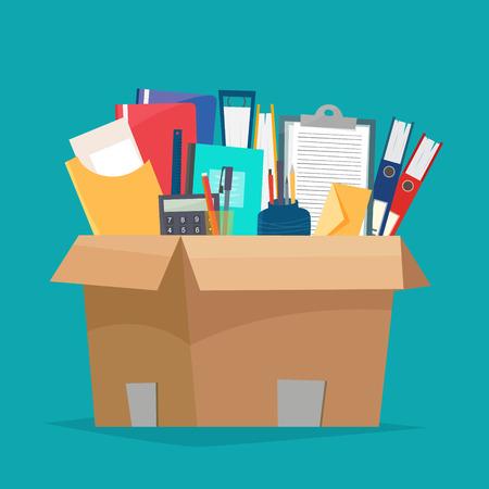 Ilustración de Box with office objects illustration on green background. - Imagen libre de derechos