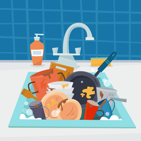 Illustration pour Sink with dirty kitchenware and dishes, utencil and sponge. - image libre de droit