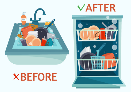Ilustración de Sink dirty dishes and open dishwasher with clean dishes. - Imagen libre de derechos