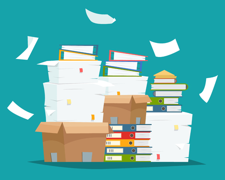 Ilustración de Pile of paper documents and file folders in carton boxes. - Imagen libre de derechos