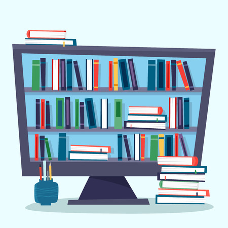 Illustrazione per Online library. Computer with electronic book. - Immagini Royalty Free