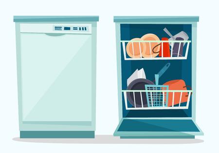 Ilustración de Close and open dishwasher with dishes. - Imagen libre de derechos