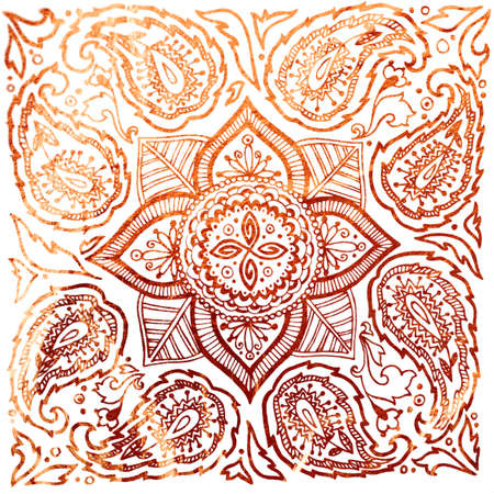 Photo for Floral ornamental copper texture. The pattern can be used as a print on postcards and T-shirts - Royalty Free Image