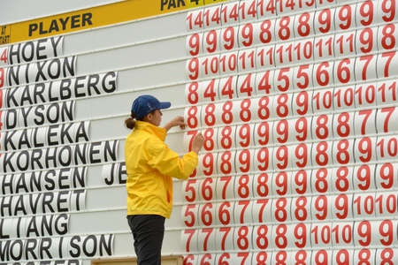 Foto de Moscow, Russia - July 28, 2013: Girl corrects the leaderboard during final round of the M2M Russian Open at Tseleevo Golf & Polo Club in Moscow, Russia on July 28, 2013 - Imagen libre de derechos