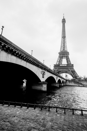 Black and White Eiffel tower mural