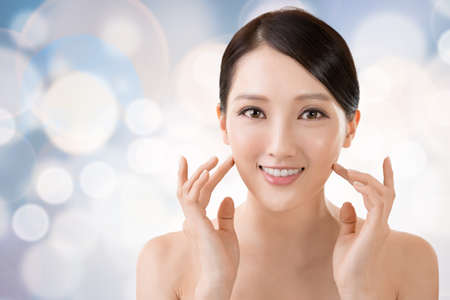 Foto de Asian beauty face closeup portrait with clean and fresh elegant lady. - Imagen libre de derechos