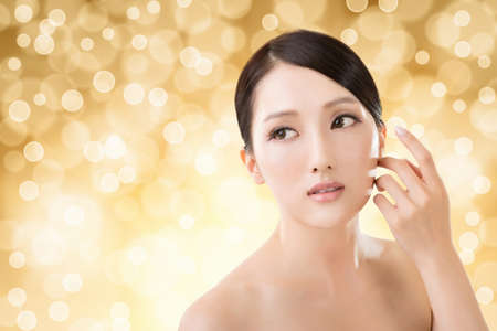 Photo for Asian beauty face closeup portrait with clean and fresh elegant lady. - Royalty Free Image