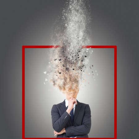 Photo pour Think outside of the box, closeup portrait with asian man thinking. - image libre de droit