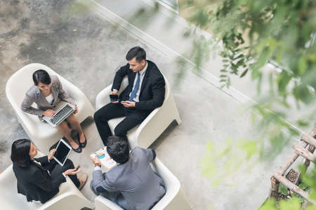 Photo for young asian business team discuss at the outdoor - Royalty Free Image