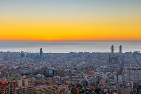 Foto de A beautiful sunrise seen in Barcelona, ??Spain ?? - Imagen libre de derechos