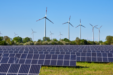Foto de Solar panels and wind power plants lakes in Germany - Imagen libre de derechos