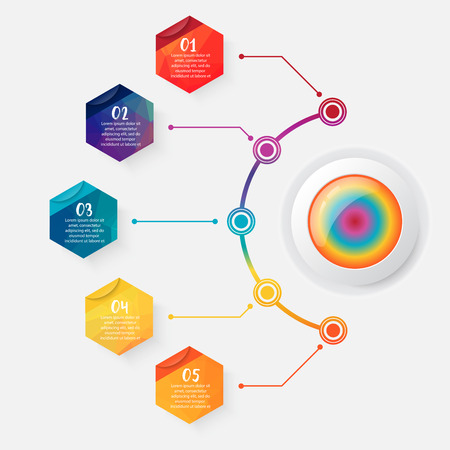 Ilustración de Timeline infographics design vector and marketing icons can be used for workflow layout, diagram, annual report, web design. Business concept with 5 options polygon, steps or processes. - Imagen libre de derechos