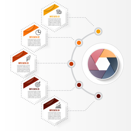Ilustración de Vector infographic template with 3D paper label, integrated circles. Business concept with options. For content, diagram, flowchart, steps, parts, timeline infographics, workflow layout, chart - Imagen libre de derechos
