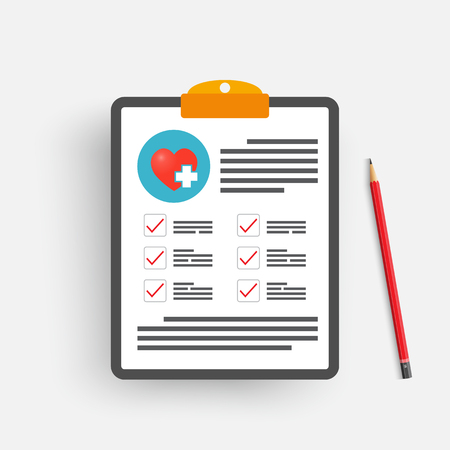 Illustration pour Clipboard with medical cross and pencil. Clinical record, prescription, claim, medical check marks report, health insurance concepts. Premium quality. Modern flat design graphic elements. Vector illustration. - image libre de droit