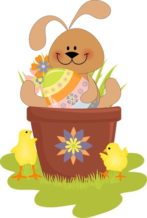 Cute Easter illustration with rabbit, eggs and chick