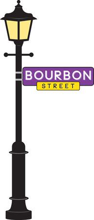 Illustration pour Bourbon Street sign and lamp post for Mardi Gras fun. - image libre de droit