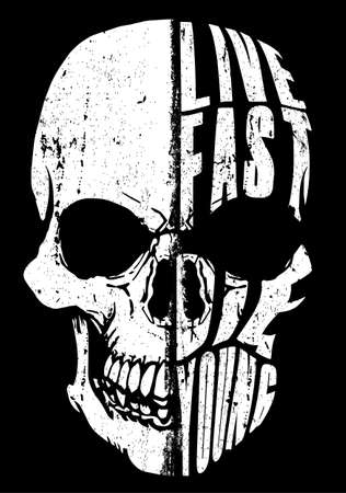 Illustration pour Skull design with Live Fast, Die Young text vector illustration - image libre de droit