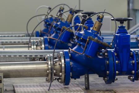 Photo pour Water pumping station with booster pump control valves - image libre de droit