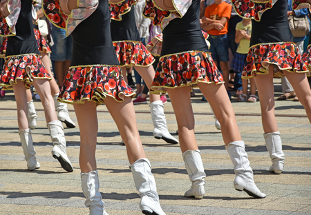 Photo for Drum majorettes dancing outdoor - Royalty Free Image