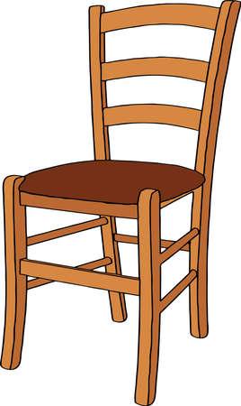 Ilustración de Wooden chair. Isolated on white background. Realistic vector illustration. - Imagen libre de derechos