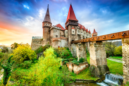 Photo for Beautiful panorama of the Corvin Castle with wooden bridge, Hunedoara, Transylvania, Romania, Europe. - Royalty Free Image
