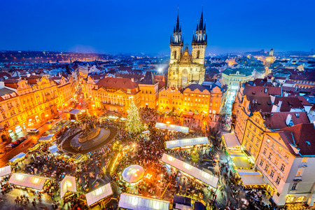 Photo for Prague, Czech Republic. Christmas Market in Stare Mesto old square, Tyn Church, Bohemia. - Royalty Free Image