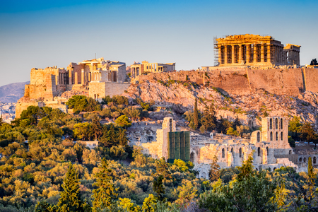 Photo for Athens, Greece. Acropolis, ancient ruins of Greek Civilization citadel with Parthenon temple. - Royalty Free Image