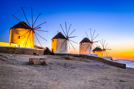 Photo for Mykonos, Greece. Kato Mili are iconic windmill of the Greek island of the Mikonos, Cyclades Islands. - Royalty Free Image