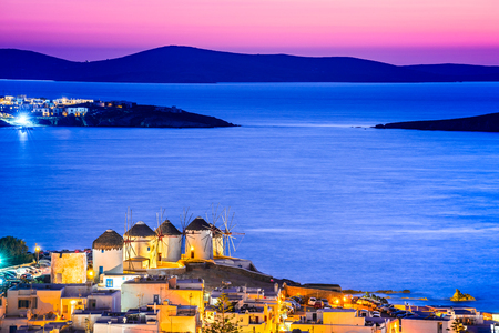 Photo for Mykonos, Greece. Kato Mili windmill at sunset and Aegean Sea, Mikonos, Cyclades Islands. - Royalty Free Image