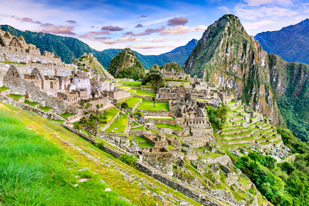 Photo for Machu Picchu in Peru - Ruins of Inca Empire city and Huaynapicchu Mountain in Sacred Valley, Cusco, South America. - Royalty Free Image