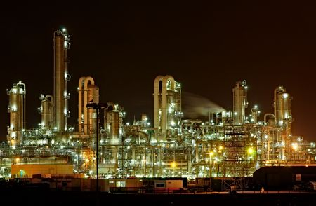 Photo for Chemical production facility at night - Royalty Free Image