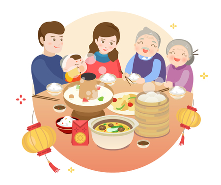 Illustration pour Chinese New Year's Eve dinner - image libre de droit