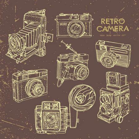 Illustration pour Vector illustration of an retro camera set. - image libre de droit