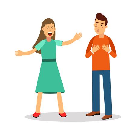 Ilustración de Aggressive young woman woman shouting at man vector Illustration - Imagen libre de derechos