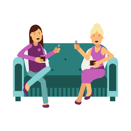 Ilustración de Two women sitting on a sofa talking and eating a cake vector Illustration - Imagen libre de derechos