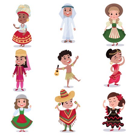 Illustration pour Kids in traditional clothes of different countries set, cute boys and girls in national costumes colorful vector Illustrations - image libre de droit