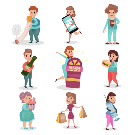Illustrazione per Popular bad habits and addictions of modern society set cartoon vector Illustrations on a white background. - Immagini Royalty Free